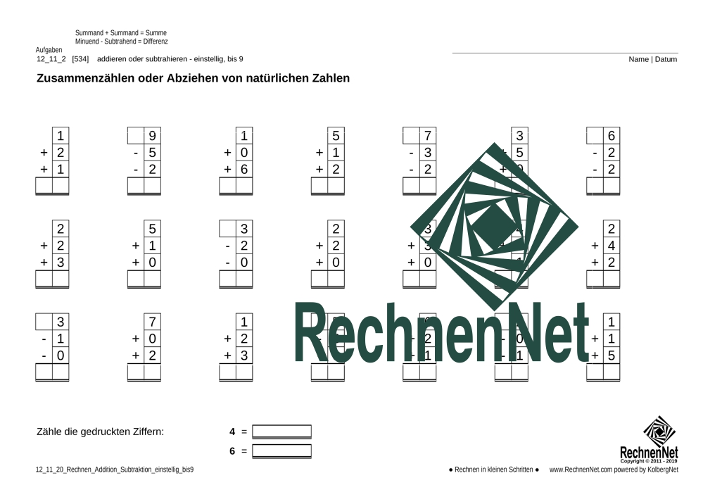 12_11_2 Rechnen Addition-Subtraktion einstellig_bis9